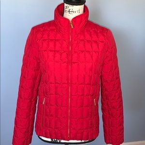 J CREW red down jacket small